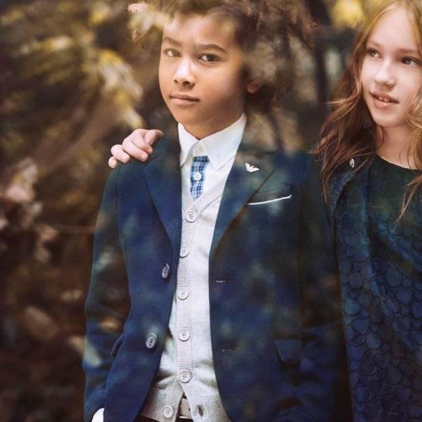 Armani Junior Boys Navy Blue Blazer & Grey Vest