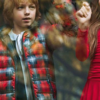 Armani Junior Boys Red Checked Reversible Jacekt
