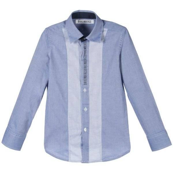 BIKKEMBERGS Boys Blue Cotton Shirt with Logo photo