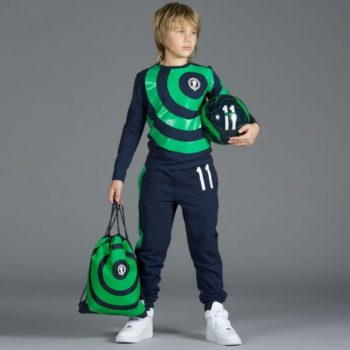 BIKKEMBERGS Boys Green Cotton Soccer Print Top with Hood