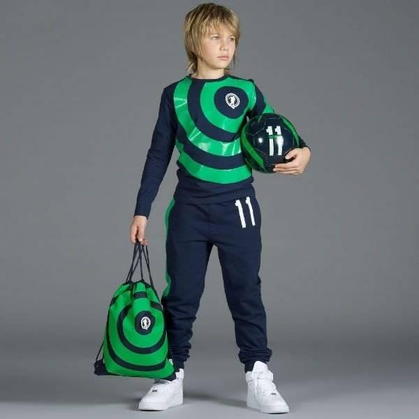 BIKKEMBERGS Boys Green Cotton Soccer Print Top with Hood