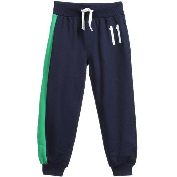 BIKKEMBERGS Boys Navy Blue Cotton Tracksuit Trousers