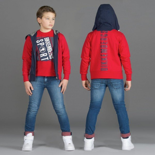 BIKKEMBERGS Boys Navy Blue & Red Logo Zip-Up Top