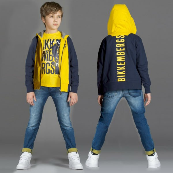 BIKKEMBERGS Boys Navy Blue & Yellow Logo Zip-Up Top