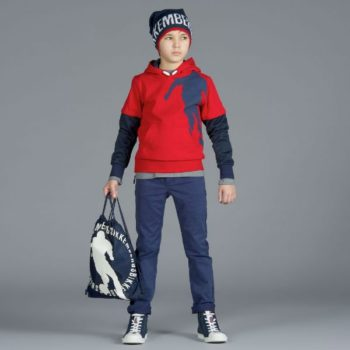 BIKKEMBERGS Boys Red & Navy Soccer Print Top with Hood
