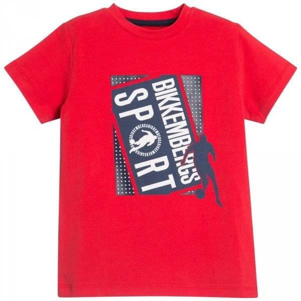 BIKKEMBERGS Boys Bright Red Sport T-Shirt