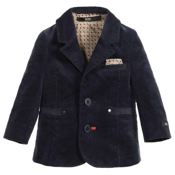 BOSS Baby Boys Navy Blue Velvet Corduroy Blazer