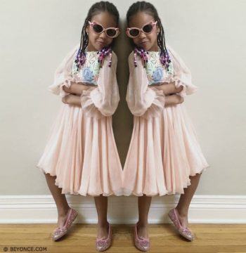 Blue Ivy Carter Wearing Dolce Gabbana Mini Me Pink Silk Chiffon Dress with Macrame Lace Bodice FW15