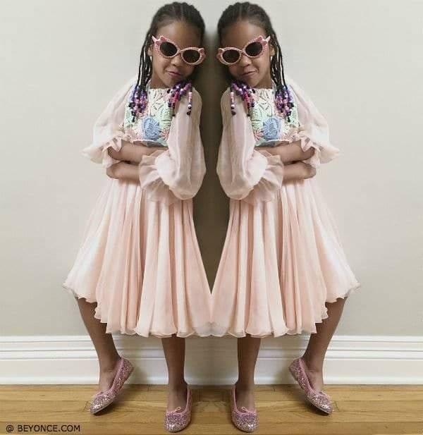 Blue Ivy Carter Wearing Dolce Gabbana Mini Me Pink Silk Chiffon Dress with Macrame Lace Bodice FW15
