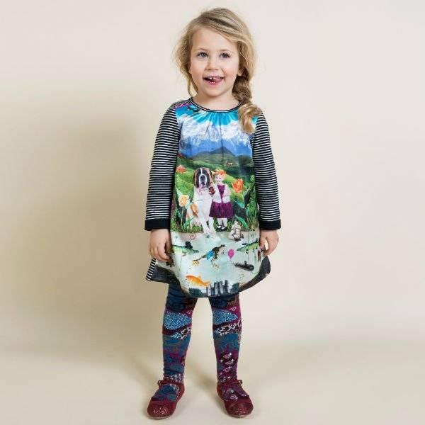 CAKEWALK Alpine Print Dress with Striped Jersey Sleeves