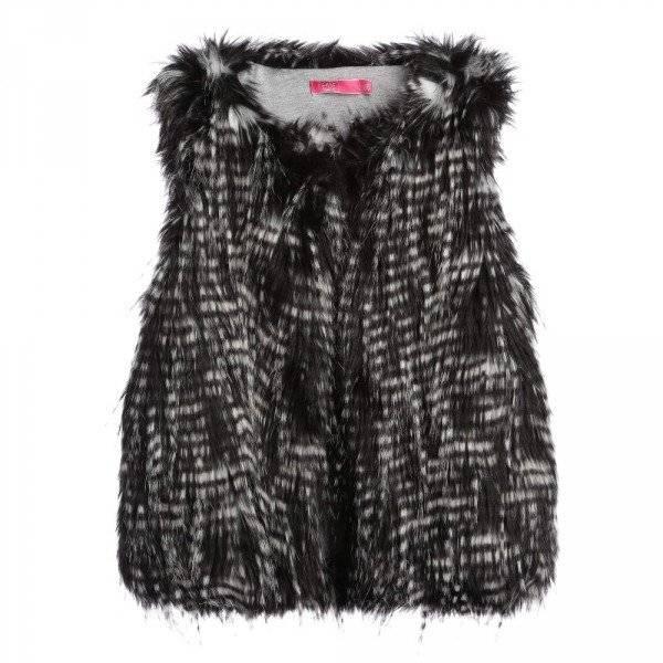 CAKEWALK Girls Black & White Synthetic Fur Gilet