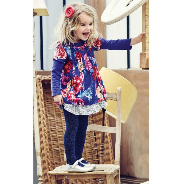 CATIMINI Blue Dress with Bright Floral Print