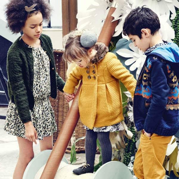 CATIMINI-Girls-Yellow-Boucle-Wool-Coat-Fur-Collar