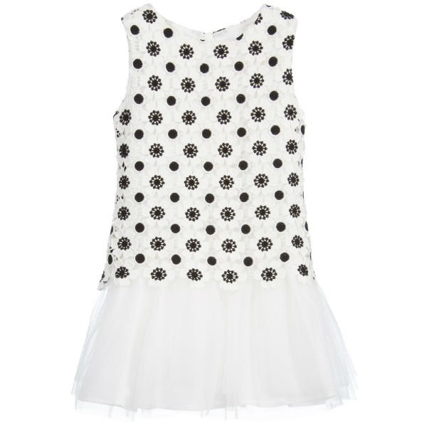 CHARABIA Black White Floral Embroidered Amelie Dress