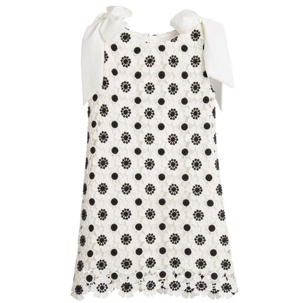 CHARABIA Black White Floral Embroidered Dress