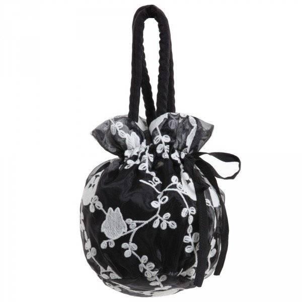 CHARABIA Girls Black Chiffon Embroidered Bag