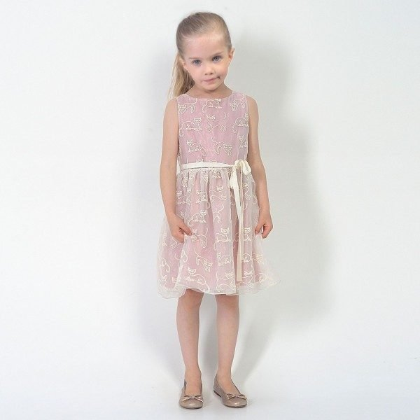 CHARABIA Pink & Ivory Tulle Dress with Cat Embroidery