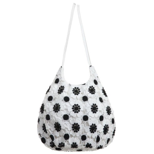 CHARABIA White Black Embroidered Lace Bag