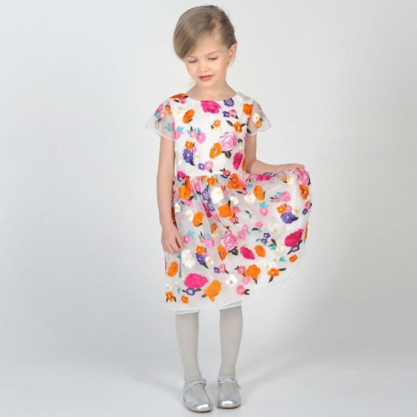 CHARABIA White Organza Floral Embroidered Dress Outfit