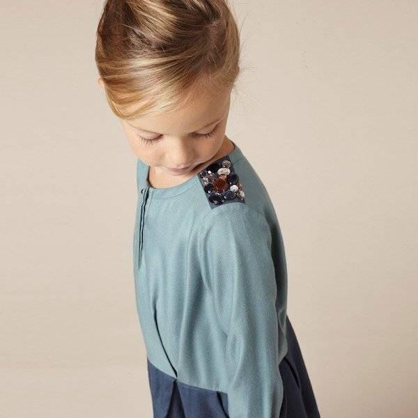 CHLOE-Blue-Long-Sleeved-Viscose-Dress-Look