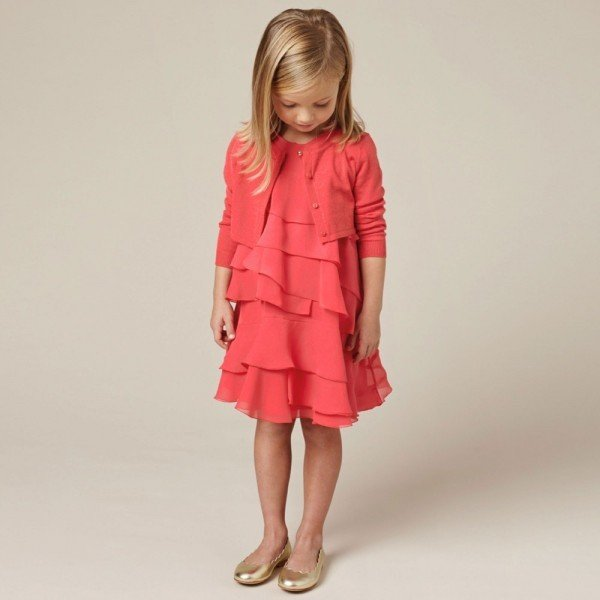 CHLOE-Coral-Red-Silk-Crepe-Ruffle-Dress