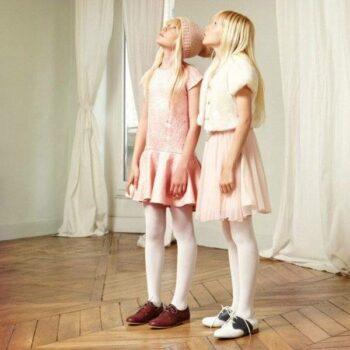 DERHY KIDS Pale Pink Jaquard Dress
