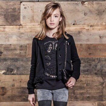 DIESEL KIDS Girls Black Beaded & Sequin Skull Top & Skinzee Jeans