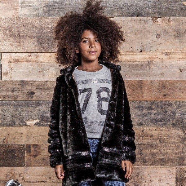 DIESEL KIDS Girls Black Synthetic Fur Coat