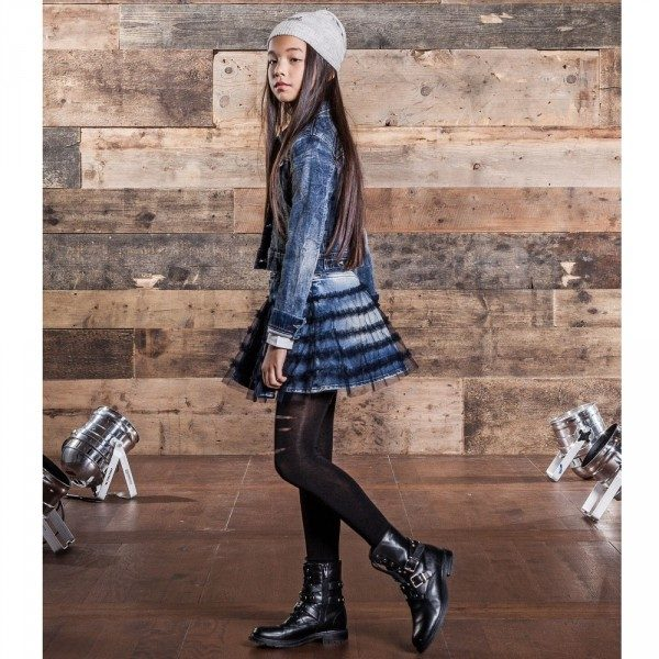 DIESEL KIDS Girls Denim & Tulle Skirt