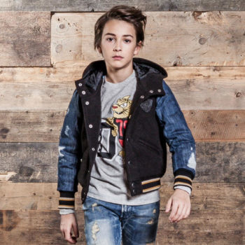 DIESEL KIDS Unisex Padded Varsity Jacket with Denim Sleeves