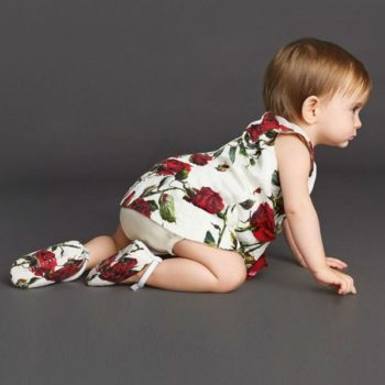 DOLCE & GABBANA Baby Girls Red Rose Brocade Dress & Knickers