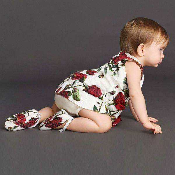 DOLCE & GABBANA Baby Girls Red Rose Brocade Dress & Knickers