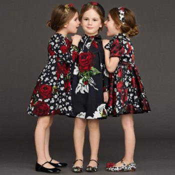 DOLCE & GABBANA Black Dress with Red & White Rose Print