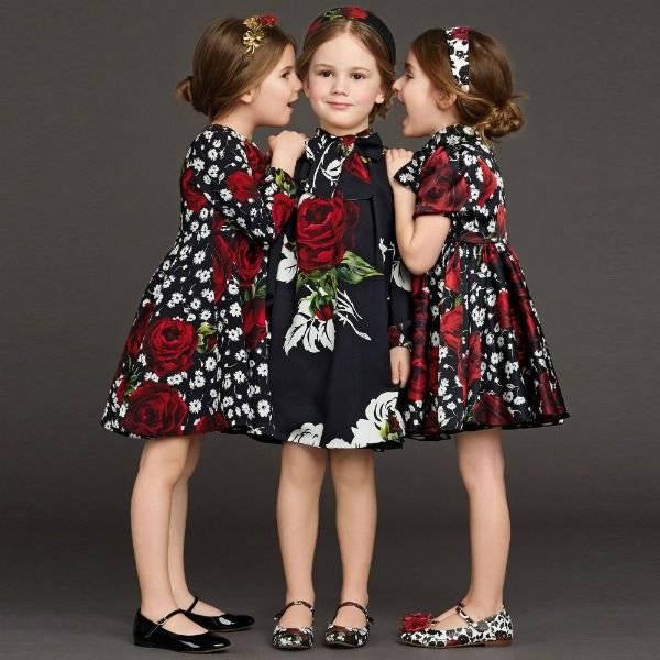Dolce Amp Gabbana Girls Black Dress With Red Amp White Rose