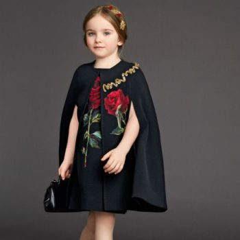 DOLCE & GABBANA Black Wool Crepe Dress with Rose Applique Look