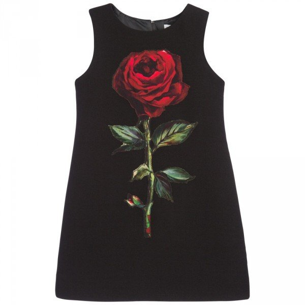 DOLCE & GABBANA Black Wool Crepe Dress with Rose Applique