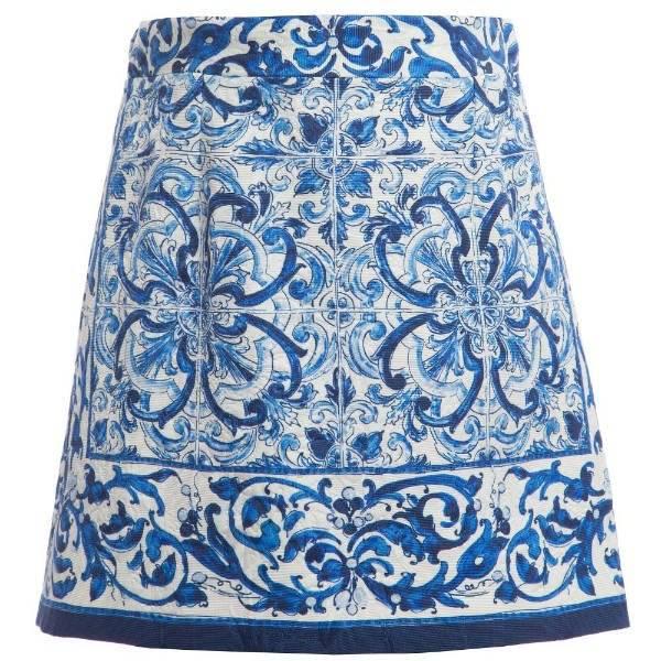 DOLCE & GABBANA Blue 'Majolica' Brocade Skirt