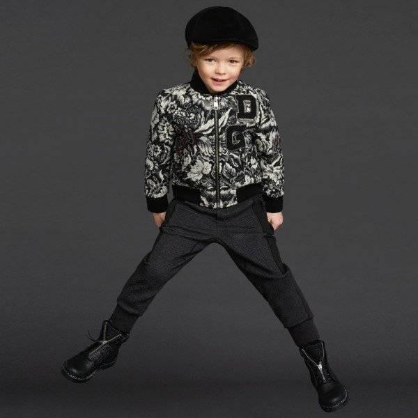 DOLCE & GABBANA Boys Black & White Wool Knit Bomber Jacket