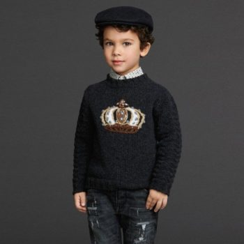 DOLCE & GABBANA Boys Dark Grey Knitted 'Crown' Sweater