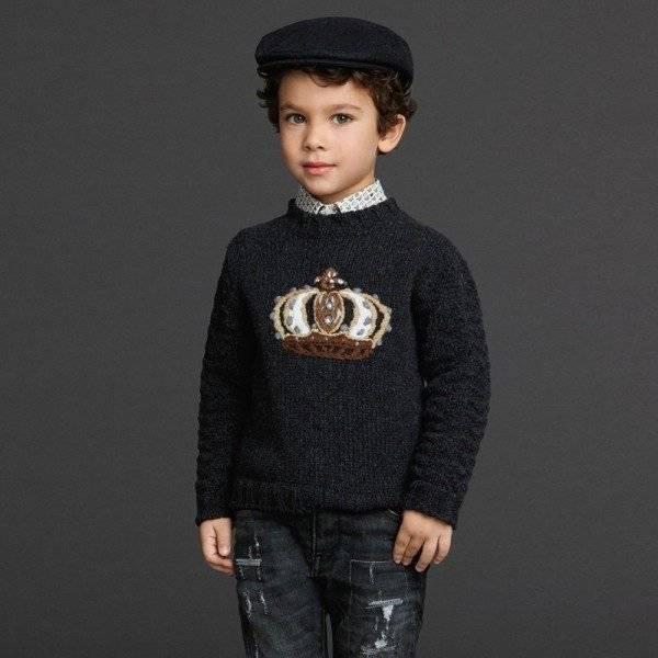 DOLCE & GABBANA Boys Dark Grey Knitted 'Crown' Sweater