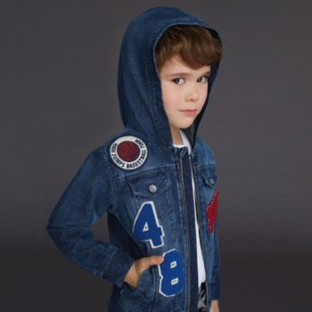 DOLCE & GABBANA Boys Basketball Hooded Denim Jacket