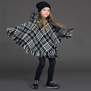 DOLCE & GABBANA Girls Black & White Houndstooth Check Wool Cape