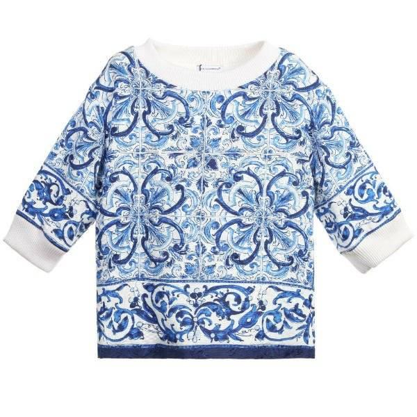 DOLCE & GABBANA Girls Blue 'Majolica' Brocade Top