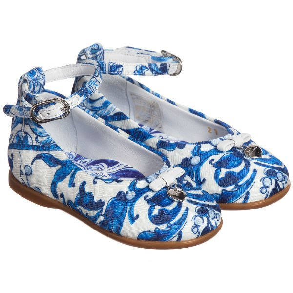 DOLCE & GABBANA Girls Blue 'Majolica' Print Brocade Shoes
