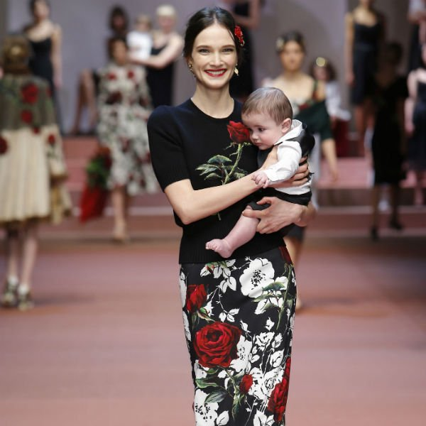 DOLCE & GABBANA Girls Black Dress with Red & White Rose Print ...