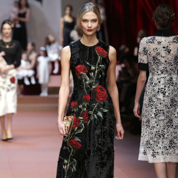 DOLCE & GABBANA Womens Black Wool Crepe Dress with Rose Applique