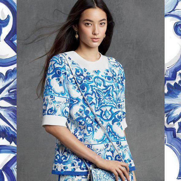 DOLCE & GABBANA Womens Blue 'Majolica' Brocade Top