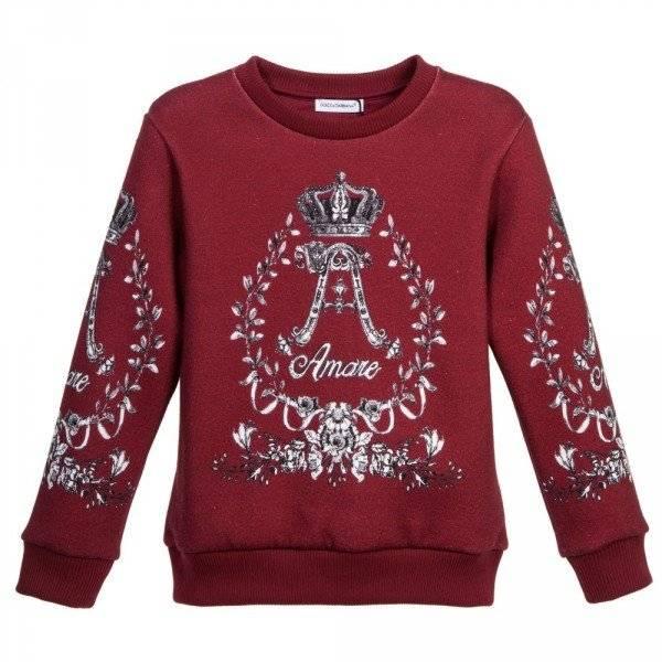 DOLCE & GABBANA Burgundy Amore Sweatshirt