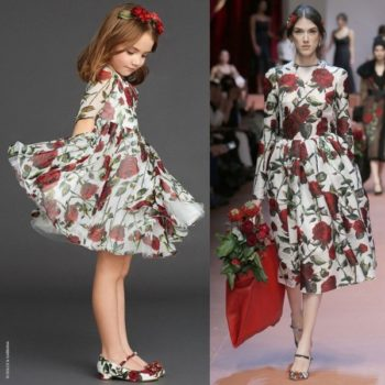Mini Me DOLCE & GABBANA Red Rose Print Silk Chiffon Dress