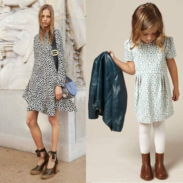 CHLOÉ Mini Me Ivory Jersey Dress with Blue Animal Print